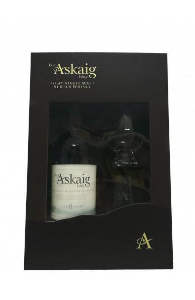 Coffret  2 verres + Whisky Port ASKAIG 8 ans 45.8°